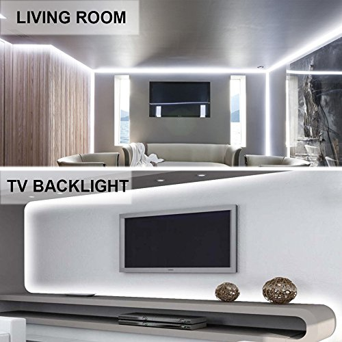 Ustellar Dimmable LED Light Strip Kit, 300 Units SMD 2835 LEDs, 16.4ft/5m 12V LED Ribbon, 6000K Daylight White Under Cabinet Lighting Strips, Non-waterproof LED Tape, UL Listed Power Supply by Ustellar (Image #5)