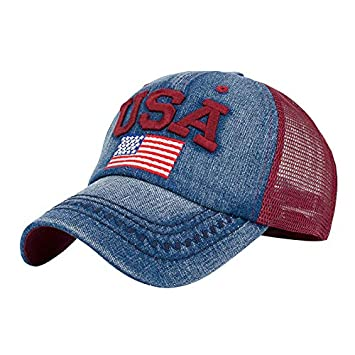 8dc50ba57 Amazon.com: New Womens American Flag Embroidered Baseball Caps ...