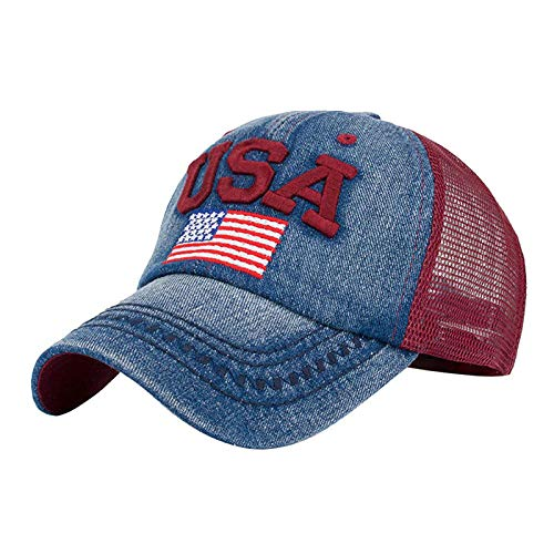 New Womens American Flag Embroidered Baseball Caps Unisex Snapback Hip Hop Flat Low Profile Cotton Washed Hats (Red)