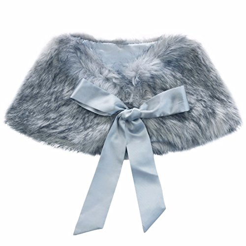 iEFiEL Girls Faux Fur Ribbon Ties Flower Dress Bolero Shrug Princess Cape Grey 3-6 Years