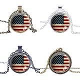 """FM42 USA National Flag Round Pendant Necklace with 26"""" Rolo Chain (4 Styles)"""
