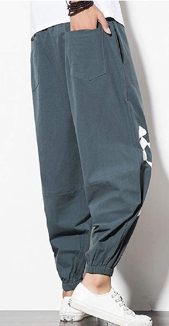 KLJR Men Cotton Linen Drawstring Casual Chinese Style Jogger Pants Trousers