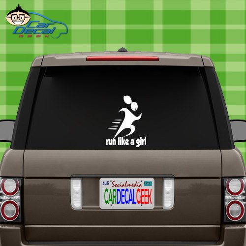 Run Like a Girl Vinyl Decal Sticker for Car Truck Window Laptop MacBook Wall Cooler Tumbler | Die-Cut/No Background | Multiple Sizes and Colors, 20-Inch, Silver ()