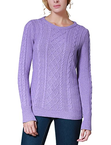- Rocorose Women's Crew Neck Cable Knitted Long Sleeve Tunic Sweater Light Purple S