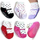 4 Pairs 6-18 Months Baby Girl Socks Newborn Toddler Girl Anti Slip Skid Mary Jane Socks + Thank you Card, Dots No-Show Crew Boat Socks Footsocks sneakers