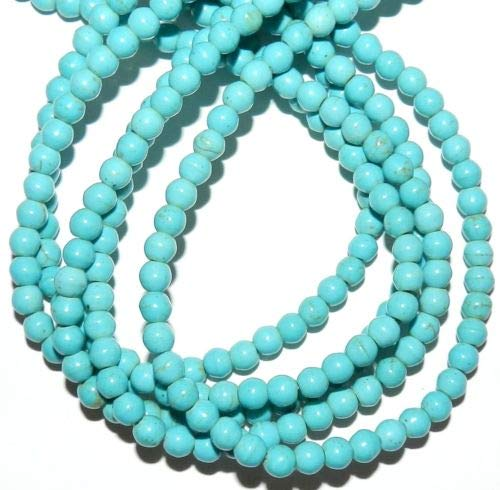 GR1535 Blue Turquoise 6mm Round Magnesite Gemstone Beads 16'' Crafting Key Chain Bracelet Necklace Jewelry Accessories Pendants