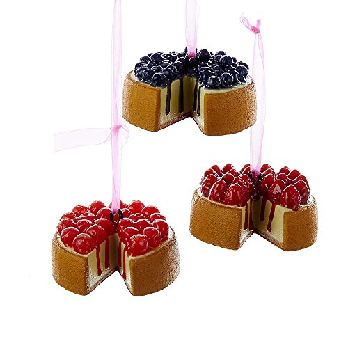 Kurt Adler 3.5-Inch Foam Cheesecake Ornament Set of 3