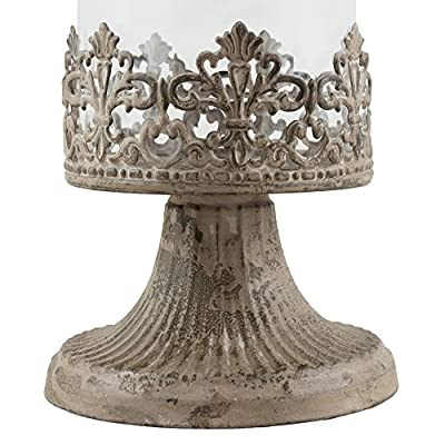 Stonebriar Slim Cylinder Glass Fleur de Lis Hurricane Candle Holder