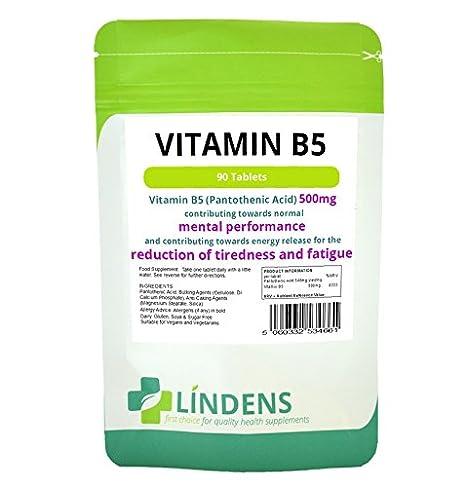 La vitamina B-5 500 mg 1-a-día-2 PACQUETE 180 comprimidos de ácido pantoténico B5 Cerebro Energía: Amazon.es: Salud y cuidado personal