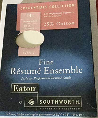 Southworth Fine Resume Ensemble 24 lb Ivory Cotton 88 Sheets & 45 Envelopes