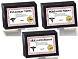 DEA Black License Frame - Displays any 5.5 by 8.5 inch Document on Counter/Tabletops or Hang and Display Your Collection Together on the wall for Professionals (Pack 12)
