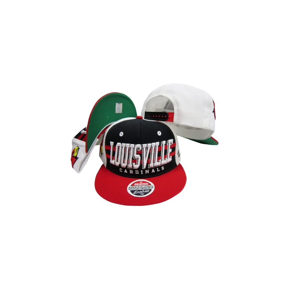Louisville Cardinals Red/Black Two Tone Plastic Snapback Adjustable Plastic Snap Back Hat / Cap