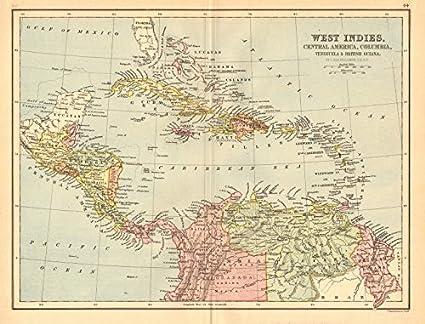 Amazon.com: CARIBBEAN. West Indies Cent. America Columbia Venezuela ...