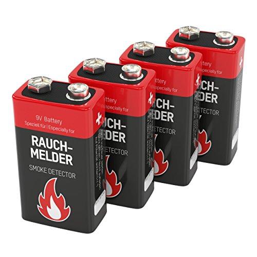 Ansmann 9V Alkaline Battery for Smoke Detectors Battery, Red, 4-Pack (1515-0006-590) by Ansmann