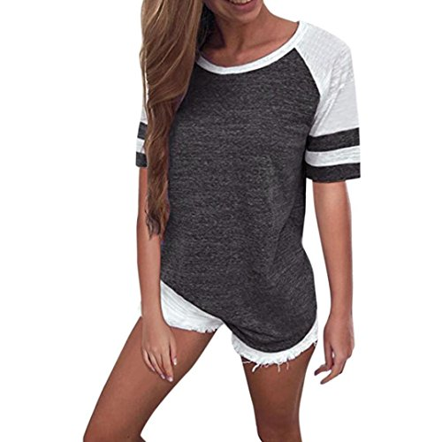 Opeer Fashion Women Ladies O-Neck Short Sleeve Splice Blouse Tops T-Shirt S-3XL (XL, Dark ()