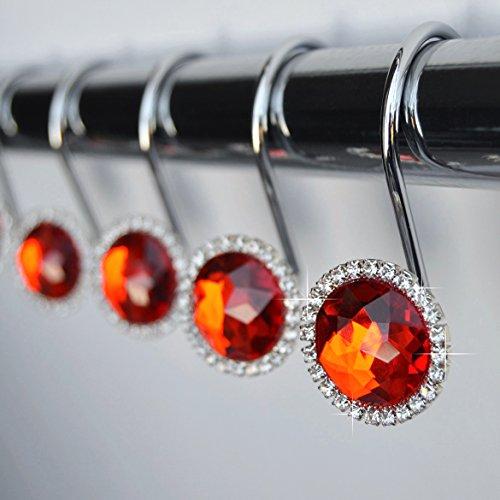 Shower Curtain Hooks Rings - Red Cute Decorative Crystal Diamond Bling Rhinestones Bathroom Bath Set Girl Women Gift (Cute Red Crystal)
