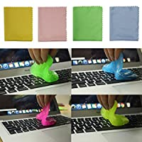4 pack Super Soft Sticky Dust Cleaning Gel Gum for Computer Car PC Laptop Keyboard Universal Dust Cleaner with 4 Microfiber Cleaning Cloths