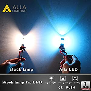 Alla Lighting Super Bright H11 LED Fog Lights 2000 Lumens High Power 3030 36-SMD LED H11 8000K Ice Blue H11 LED Bulb H11LL H8LL H8 H16 H11 Fog Lights Lamp Bulbs Replacement w/Projector (Set of 2)