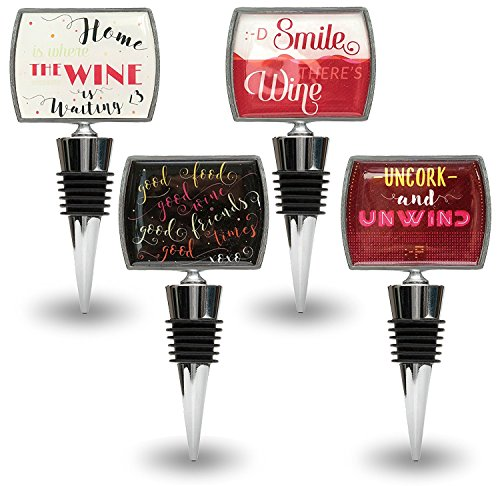 Decorative Wine Bottle Stoppers with Funny & Positive Quotes - 4-piece Wine Stopper Set in Stainless Steel - Wedding Favors, Gifts for Friends or Bar - Cat Walmart Glasses Eye