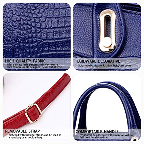 Bleu Cartable portés main Sacs à main Femme Sacs Cuir Sacs Sacs DEERWORD Faux portés épaule bandoulière Sacs WqgBAac