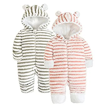 Amazon Com Babyandthebeads New Baby Winter Hoodie Rompers Bear