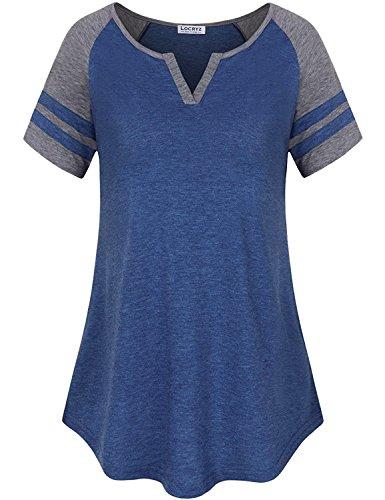 Short Tee Baseball Hem Sleeve (Locryz Womens Summer Raglan Short Sleeve Stripe Tee V Neck Blouses Baseball Tshirts Top (M, Blue))