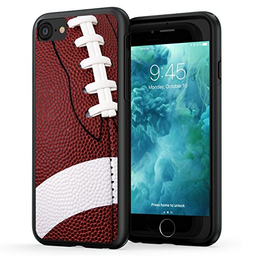 True Color Case Compatible with iPhone 7 Case, iPhone 8 Football Case, True Color Football Sports Collection Slim Hybrid Hard Back + Soft TPU Bumper Protective Durable Cover