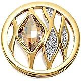 Quoins QMOK-08M-G-GL Damen Münze Medium M Centre of the Universe Edelstahl vergoldet Zirkonia