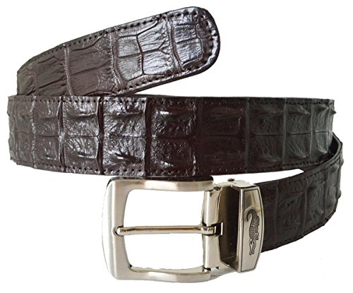 Authentic Sefaro Crocodile Skin Men's Double Rows Backbone Pin Belt (34-36, Dark Brown)