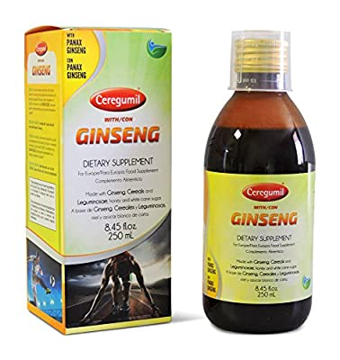 CEREGUMIL Pure Korean Ginseng w/ Panax Liquid 6 Year Roots Extract Syrup - Produced in Korea Manufactured in Europe - 15 mg Ginsenosides - Help Fight Physical Fatigue & Boost Mental Focus - Daily Extra Energy Performance, Concentration and Reflexes - Natu