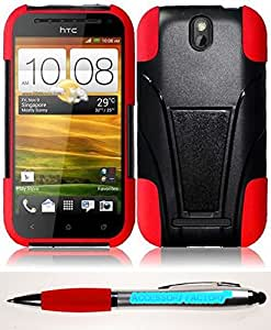 Accessory Factory(TM) Bundle (the item, 2in1 Stylus Point Pen) For HTC One SV T-Stand Cover Case - Black+Red cas protecteur de couverture