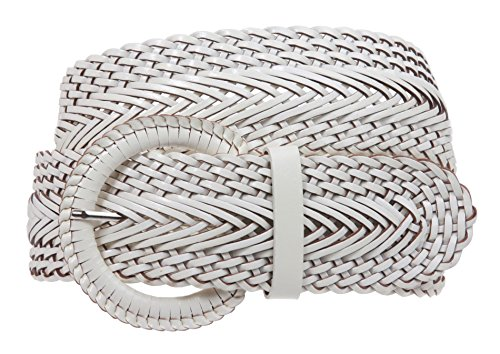 2 Inch Wide Genuine Leather Braided Woven Round Belt Size: L/XL - 40