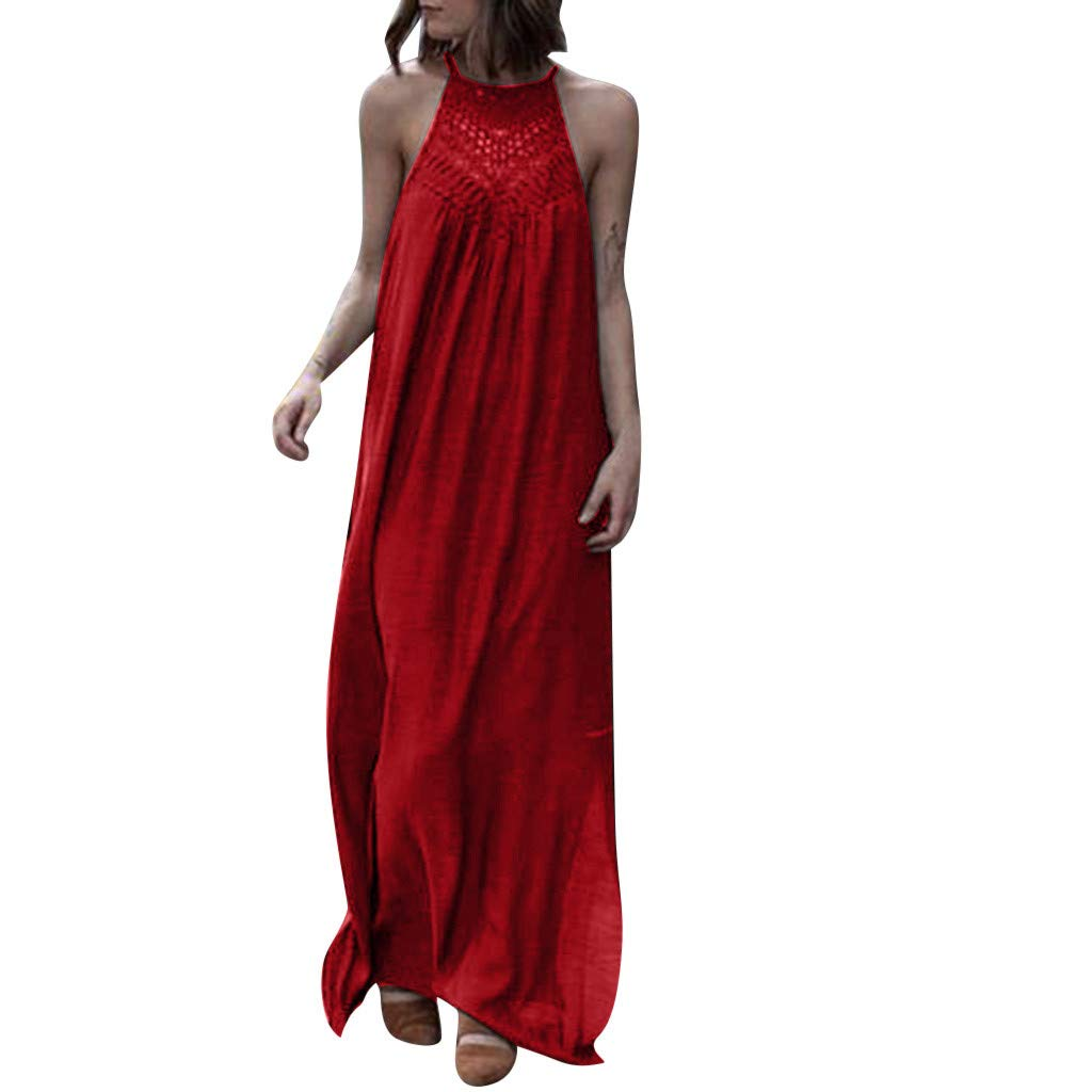 Halter Dresses for Women丨2019 Summer Casual Sleeveless Party Lace Maxi Dress丨Womens Hollow Loose Long Dress(Red,XL)