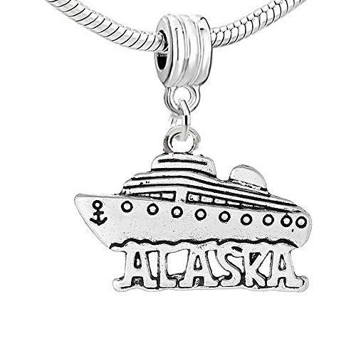 Carved Alaska Cruise Boat Bead Compatible for Most European Snake Chain Bracelet for Jewelry Making Bracelet Necklace DIY Crafts ()