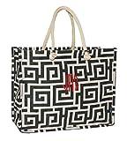 Personalized Black Geometric Juco Ladies Tote Bag