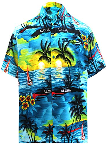 LA LEELA Likre Aloha Dress Shirt Teal Blue 293 Large | Chest 44