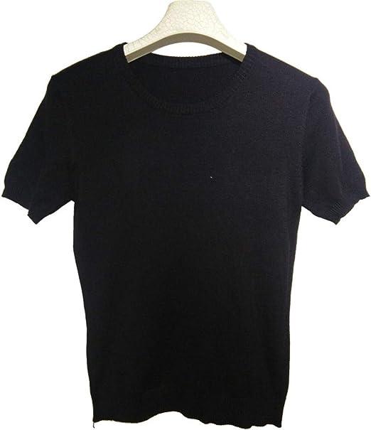 CWXDIAN Camiseta Casual Cuello Redondo Suéter de Punto de algodón ...