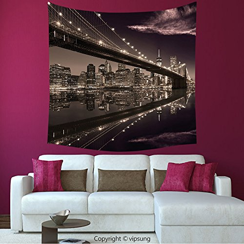House Decor Square Tapestry-Apartment Decor Brooklyn Bridge Sunset New York Manhattan Skyline Tourist Attraction Modern City Picture Brown_Wall Hanging For Bedroom Living Room Dorm (Halloween Dog Parade Brooklyn)