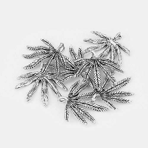 FidgetFidget 5pcs Large Silver Marijuana Leaf Charms Beads Pendant Jewelry Findings 43x42mm