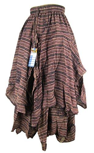 Little Kathmandu algodón 2capas falda asimétrica larga con cintura elástica de verano C