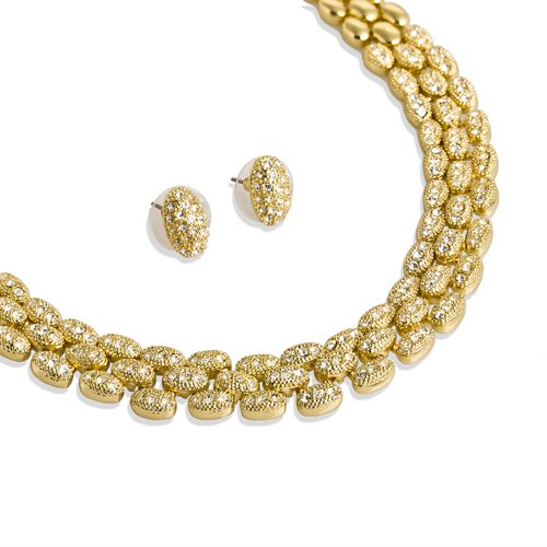 Swarovski Crystals Links Jewellery Set on 14K Gold and Rhodium Silver  Plating. A 3 Piece Set 09ef258b72