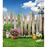 Generic Kids Outdoor Photo Backgrounds Pink White Flowers Wood Fence Clouds on Blue Sky Grass Floor Photographic Backdrop Newborn Children Wallpaper Booth Props