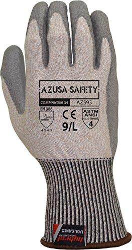 - Azusa Safety AZ593 ANSI/ASTM A4 Cut Resistant Commander X4 13 gauge Hybrid Armorgard Volkanix Liner; Polyurethane PU Palm Coated Dipped Safety Glove (1 Pair), Large, Grey/Grey
