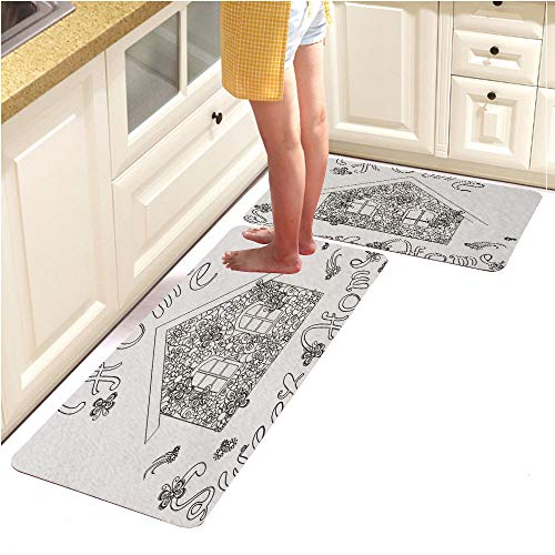 Pebbles Page Alphabet (Rugs Runner Rug -Non Skid Carpet Entry Rugs Runners for Kitchen and Entryway,Flowers House with Lettering Home Sweet Home for Coloring Page (15