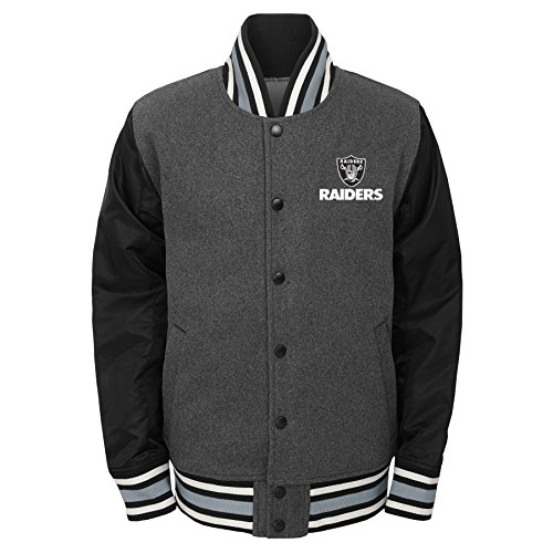 NFL Oakland Raiders Youth Boys Letterman Varsity Jacket Charcoal Grey, Youth ()