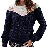 IEason Women top Women's Winter Arctic Velvet Round Neck Long Sleeve Stitching Blouse BK/S