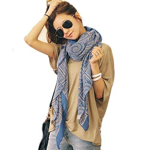Vintage Scarf,Han Shi Women Fashion Printed Soft Long Scarves Shawl Wrap Blanket Towel (Blue, L)