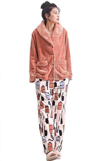 Pijamas de franela de invierno para mujer Set Ladies de 2 piezas Soft thicken Loungewear,