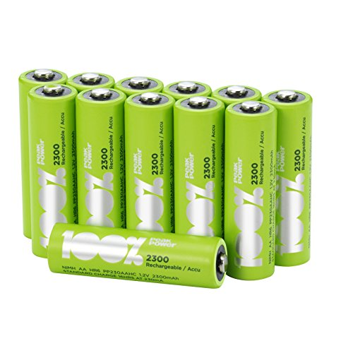 12 x AA Rechargeable 2300mAh 100%PeakPower NiMH Batteries NEWLY released...