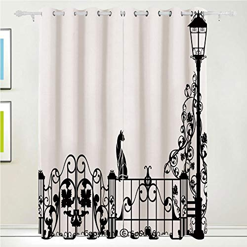 (Modern Grommet Blackout Window,Cute Kitty Over The Fences in The Garden by Lantern with Classic Flowers Pattern,for Bedroom&Living Room&Patio Sliding Doors,2 Panels Set,108 X 63 Inches,Black White)